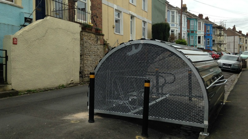 Bristol's first on-road bike hangar installed