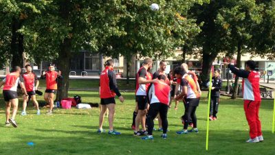 Japan rugby team training on College Green