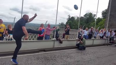 Playing rugby on the Suspension Bridge