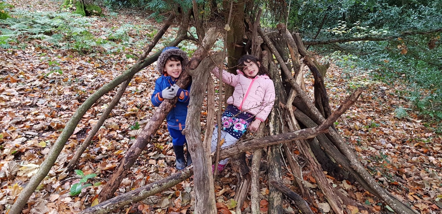 Hours of fun building dens in Leigh Woods