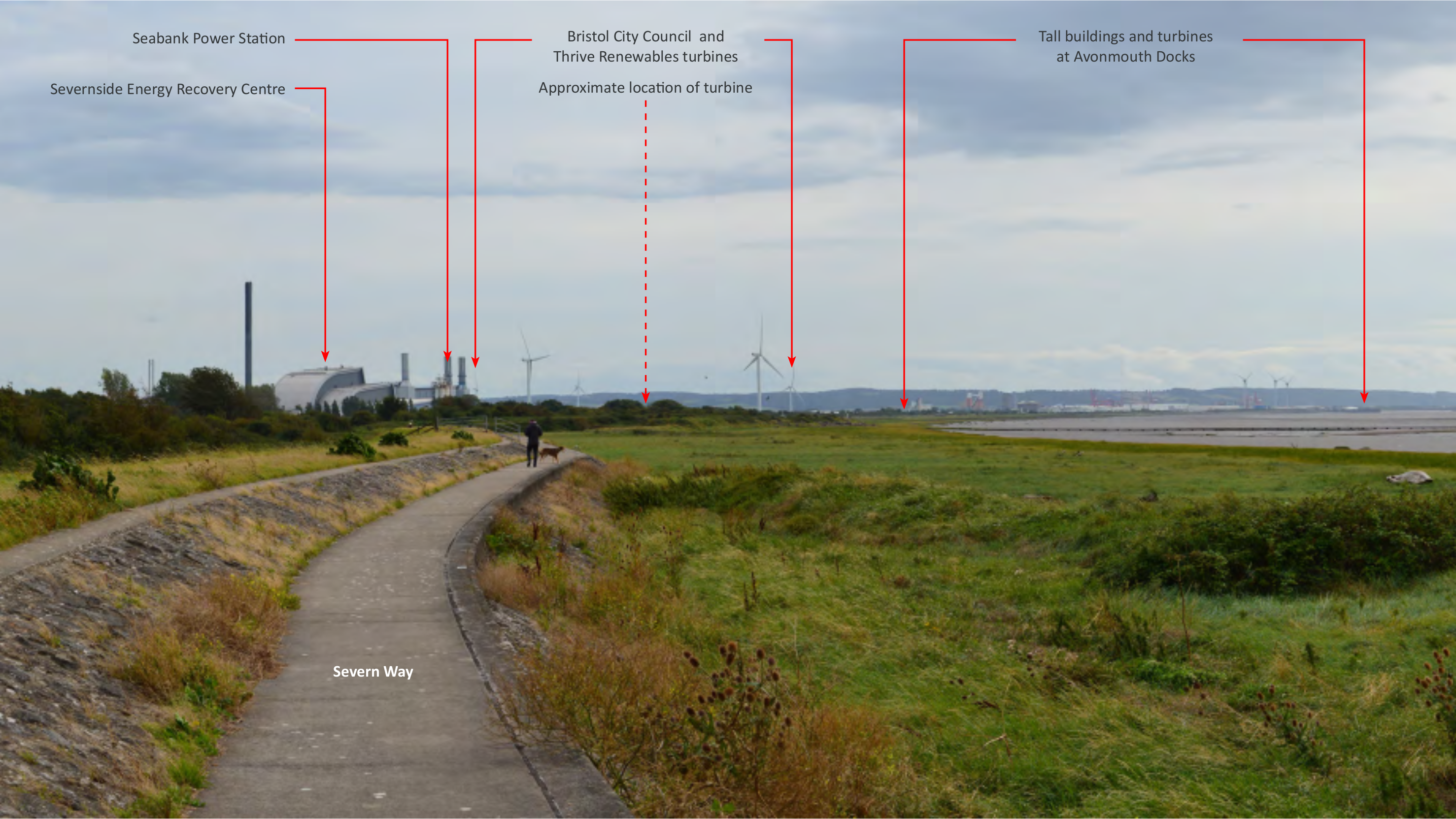 Photo from Severn Way detailing planned location of Wind Turbine next to Seabank Power Station